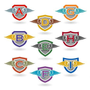 Set of letter badges with wings for logos, t-shirts, emblems.