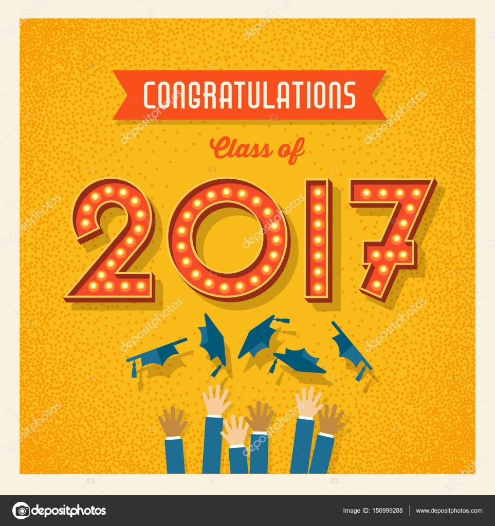 retro tarjetas de graduacin de 2017 o banner diseo con nmeros de signo vintage bombilla