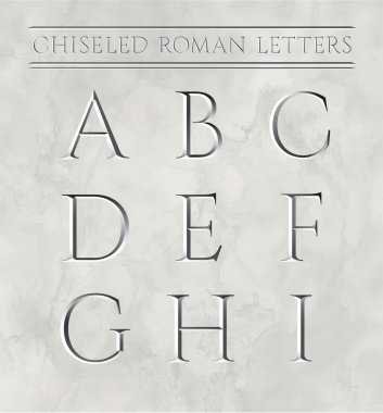 Roman letters chiseled in marble stone. Vector illustration. Letters a, b, c, d, e, f, g, h, i.