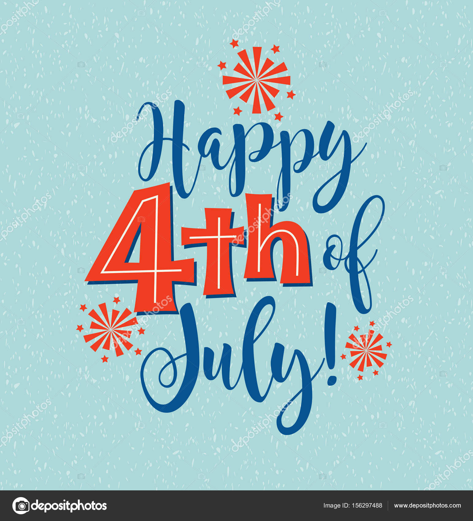Retro Happy 4th Of July Typography Design For Greeting Cards Web