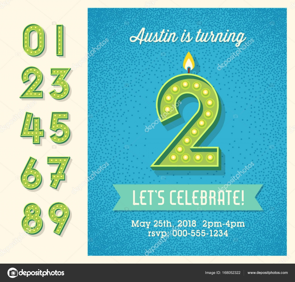 Retro birthday party invitation with full set of light bulb display retro birthday party invitation with full set of light bulb display numbers easy to edit filmwisefo