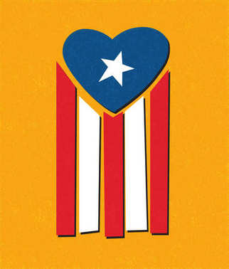 Puerto Rican flag with blue area forming a heart shape to symbolize helping Puerto Rico with hurricane relief.