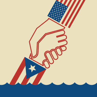 Illustration urging hurricane relief for Puerto Rico. American hand pulling up Puerto Rican hand to safety. Concept of helping or saving victims. stock vector