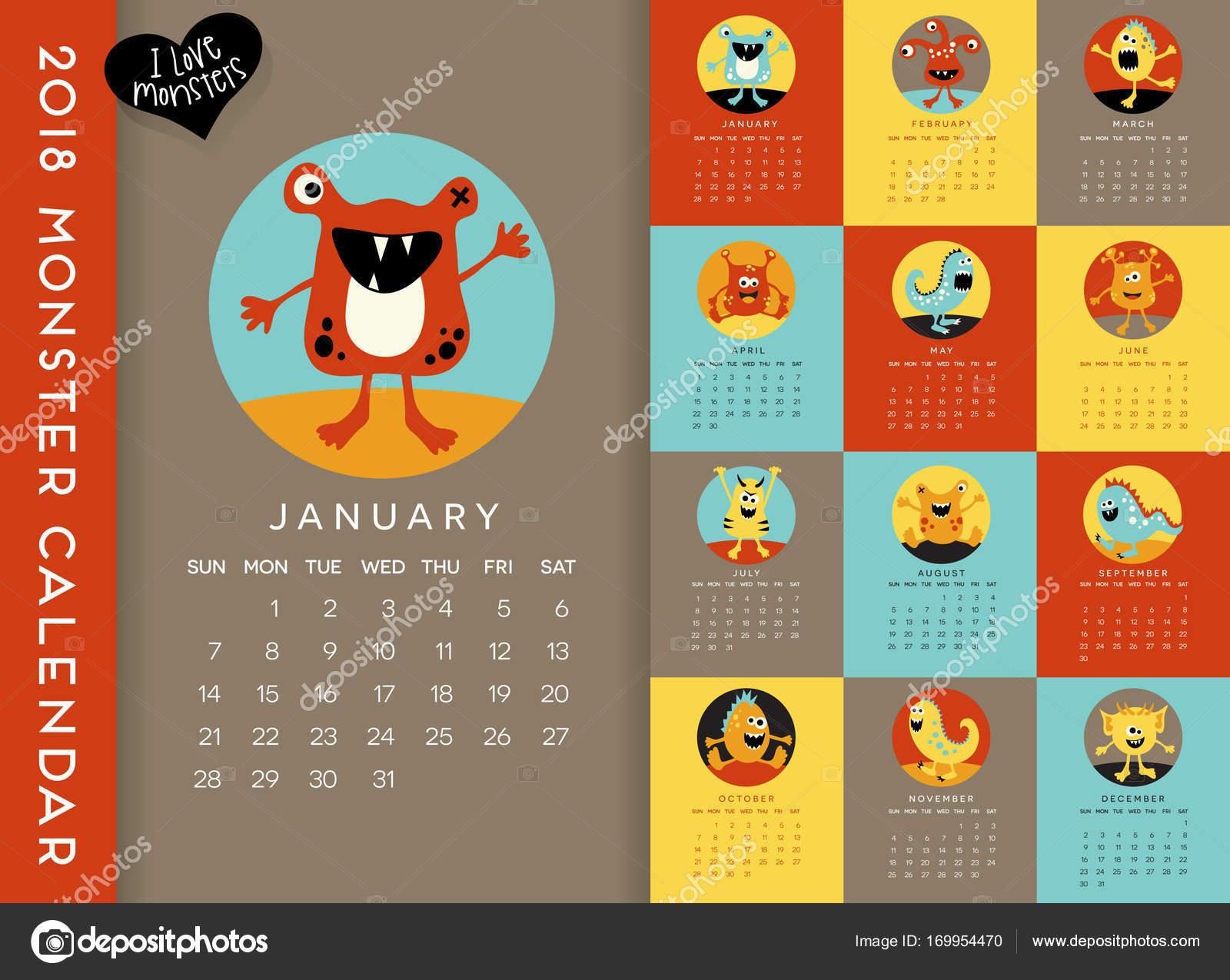 Calendario Illustrato.Colorful 2018 Calendario Illustrato Con Un Mostro Carino Per