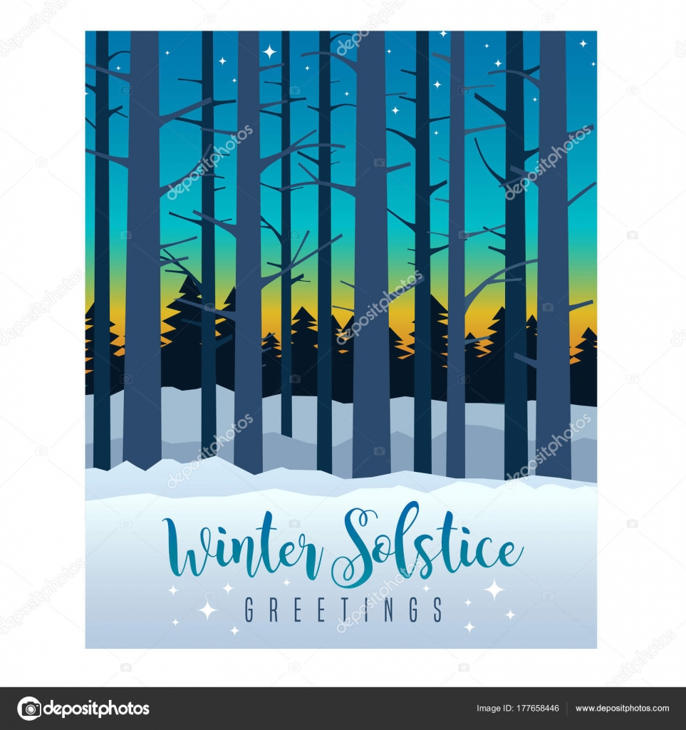 Winter Solstice Greeting Card Design Colorful Evening Sky Sunset