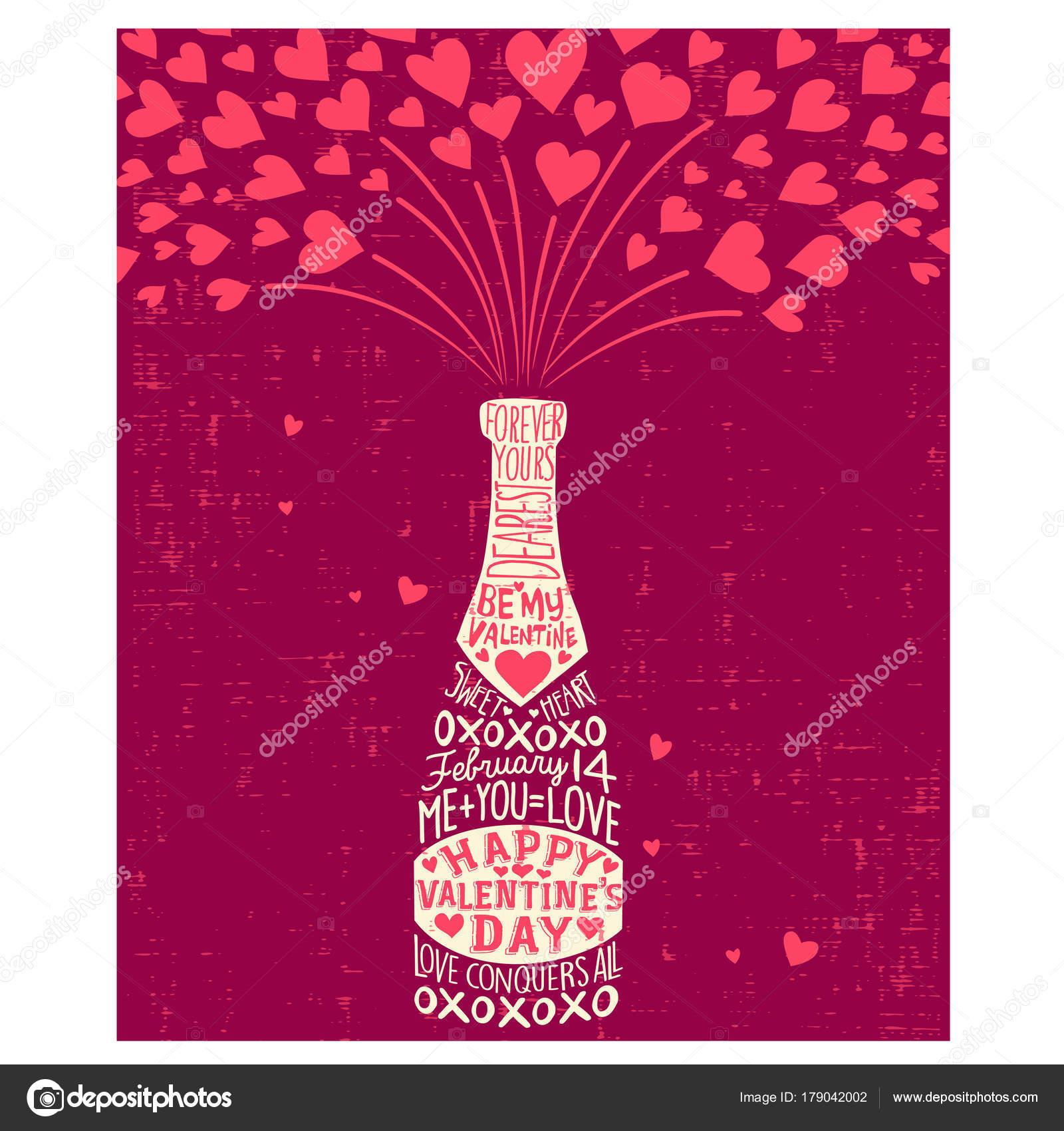 Cartao De Feliz Dia Dos Namorados Com Garrafa De Champanhe Coracoes