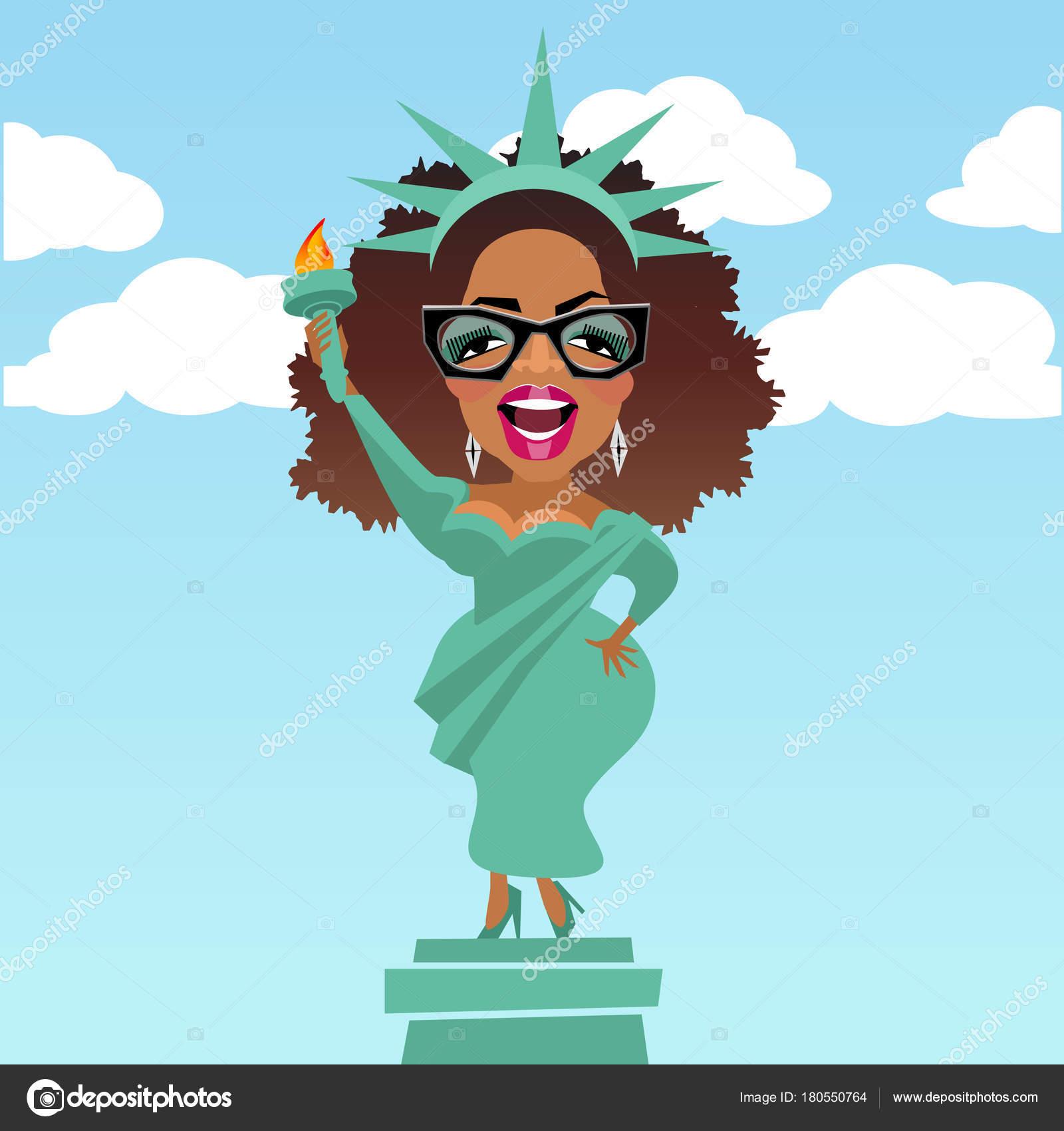 Karikaturen von Prominenten und Philanthrop Oprah Winfrey gekleidet ...