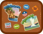 Photo Wisconsin, Wyoming travel stickers with scenic attractions and retro text on vintage suitcase background