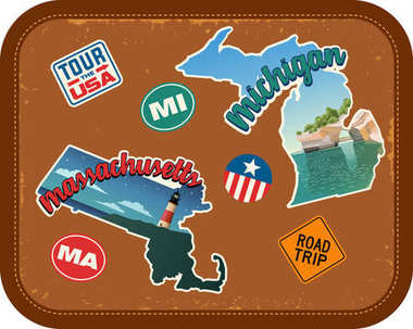Massachusetts, Michigan travel stickers with scenic attractions and retro text on vintage suitcase background