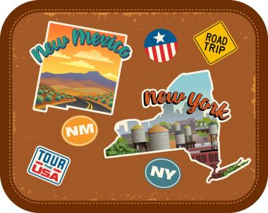 New Mexico, New York travel stickers with scenic attractions and retro text on vintage suitcase background