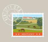 Kentucky návrh poštovní známky. Vektorové ilustrace koní pasoucí se v zelených polích s stáje v pozadí. Grunge razítko na samostatné vrstvy
