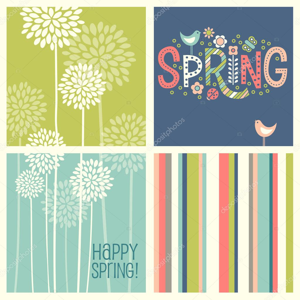 Set of Spring designs including seamless stripes, doodle lettering, tall allium flowers.