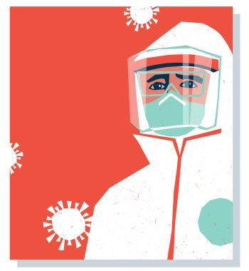 Medical staff wearing PPE, personal protective equipment to care for coronavirus covid-19 patients during pandemic. Poster or banner template design with space for text. stock vector