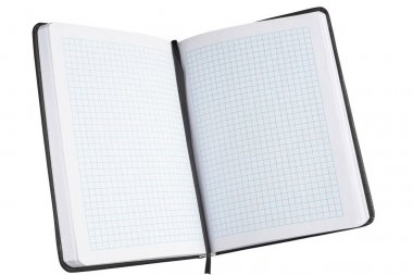 Open notebook, diary isolated on a white background.