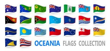 "Картина, постер, плакат, фотообои ""Флаги Океании коллекция. Векторная иллюстрация."", артикул 127581200"