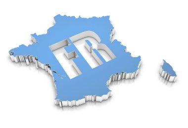 Blue map of France on white. 3D rendering.