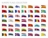 Európai zászlók gyűjtemény. Vektoros illusztráció beállítása.