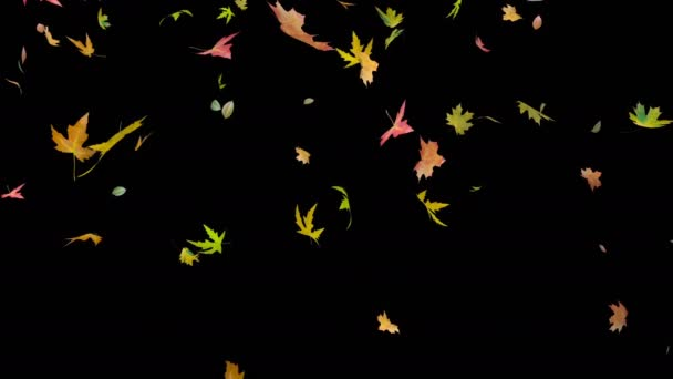 helle, farbige Herbstblätter, die in den Wind fallen. realistische 3D-Darstellung. diese Arbeit hat einen Alphakanal.