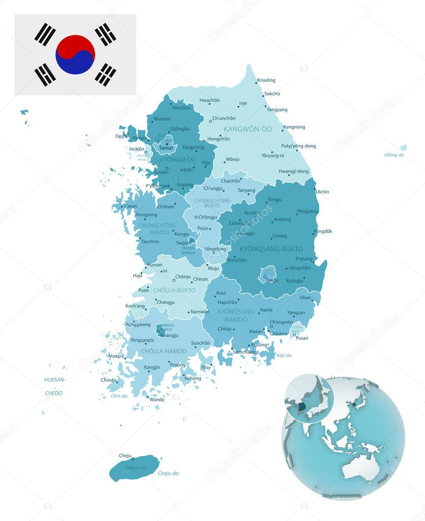 Picture of: South Korea Administrative Blue Green Map With Country Flag And Location On A Globe Vector Illustration Premium Vector In Adobe Illustrator Ai Ai Format Encapsulated Postscript Eps Eps Format