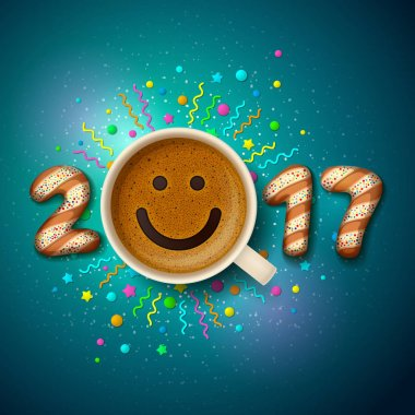 Cup of coffee for good mood in New Year 2017 and for Christmas