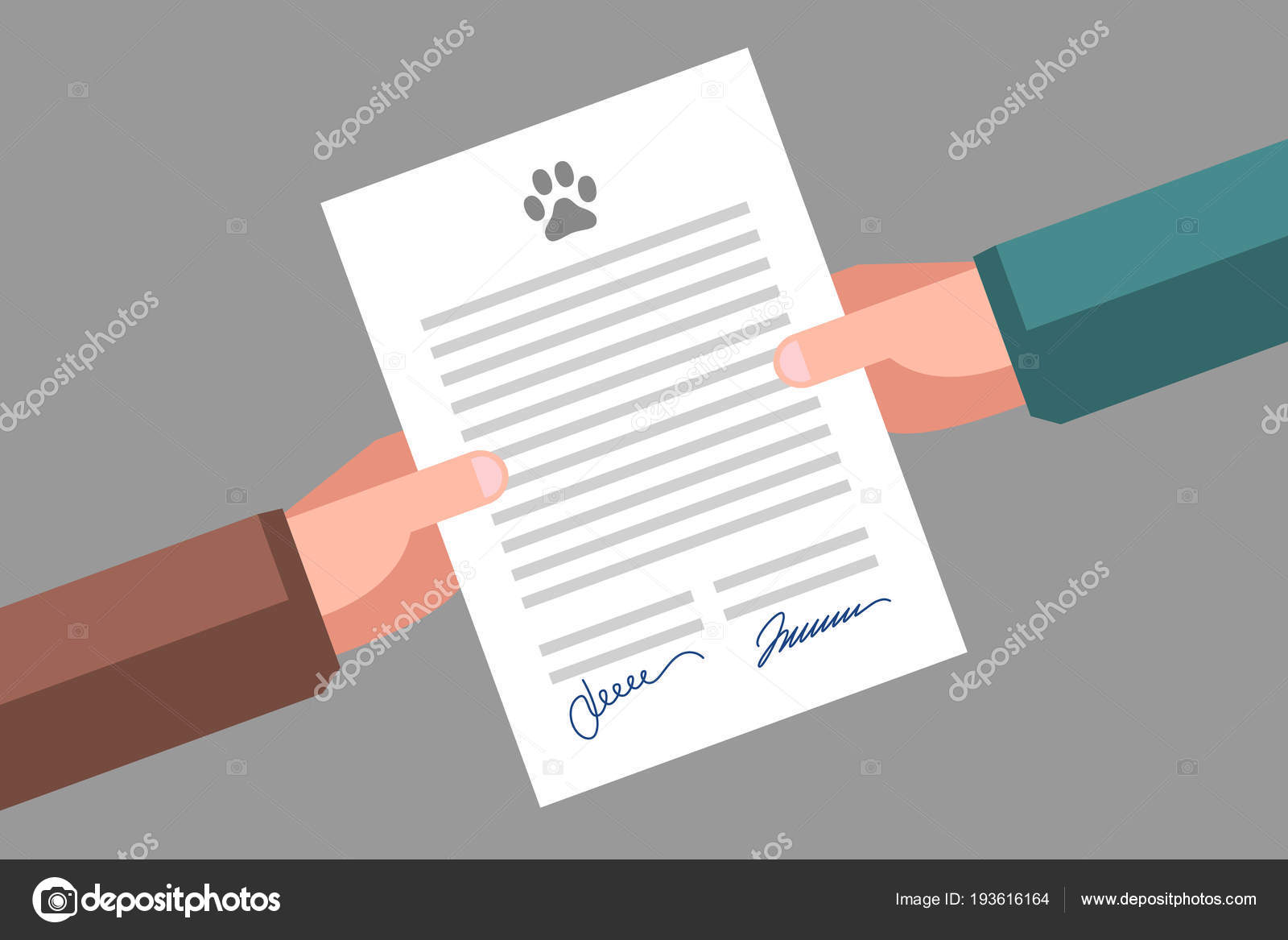Signing Of Pet Adoption Or Sale Agreement Stock Vector Vaselena