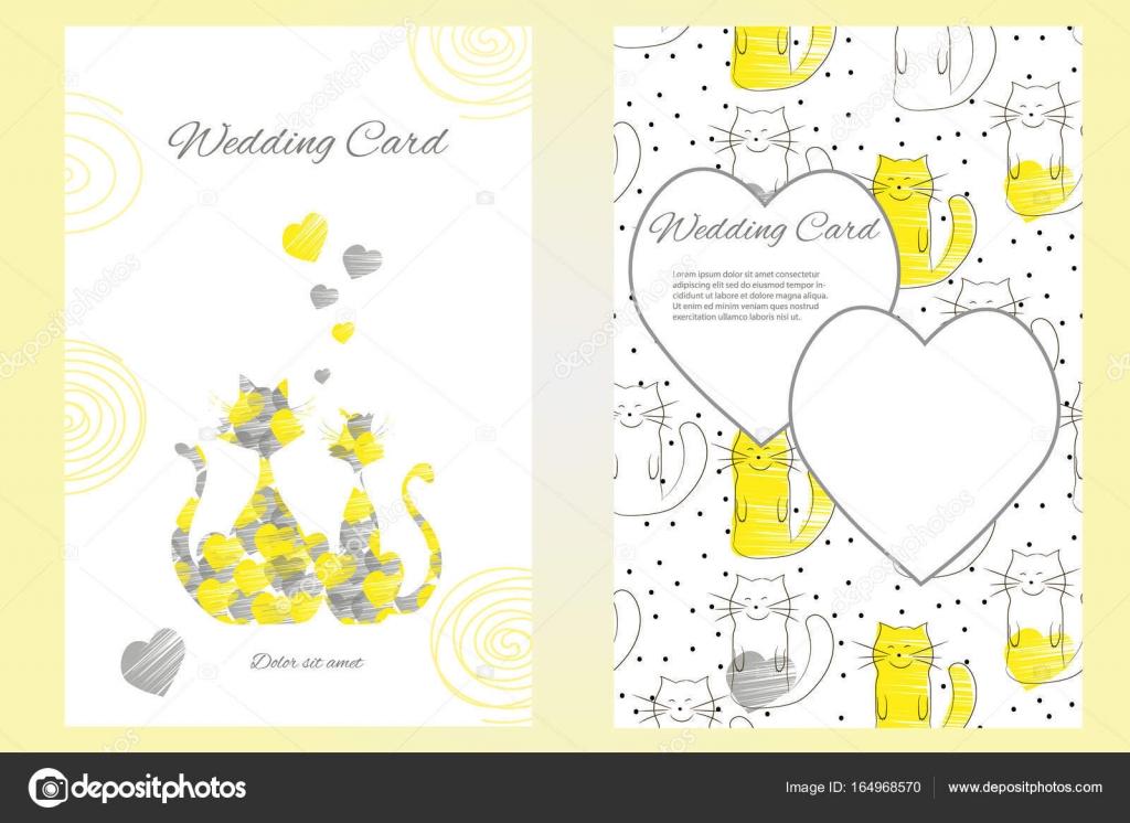Zweiseitige Hochzeit Einladung Vorlage Oder Grußkarte Mit Lustigen  Liebevollen Katzen U2014 Stockvektor