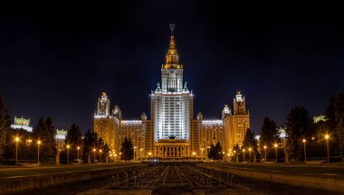 Night view of Moscow State University in Russia