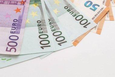 euro banknotes on isolated white background