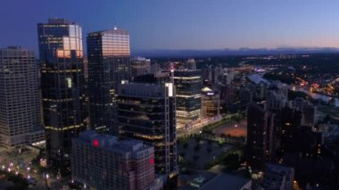 Aerial Video of downtown Calgary at night