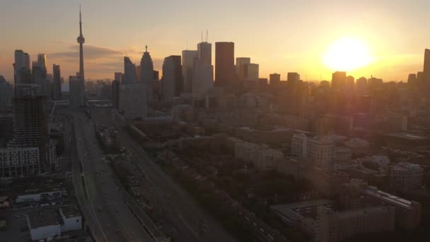 Aerial video of downtown Toronto at sunset on a beautiful clear evening.