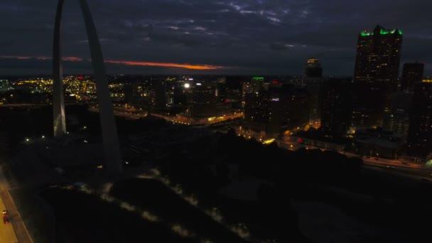 Aerial video of St Louis in Missouri.