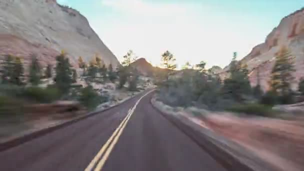 Driving time lapse in Zion National Park in Utah.