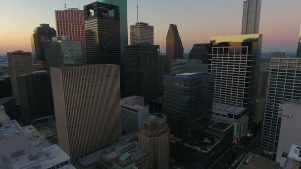 Aerial video of downtown Houston in Texas