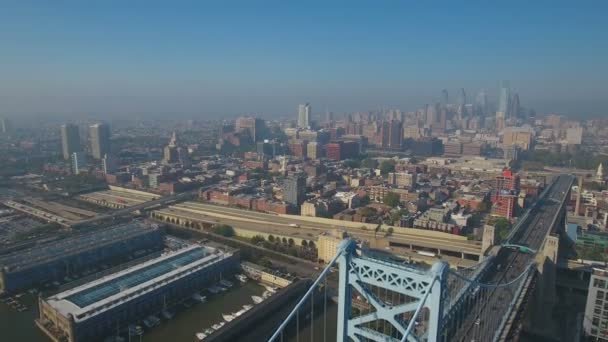 Aerial Video der Innenstadt von Philadelphia in Pennsylvania.
