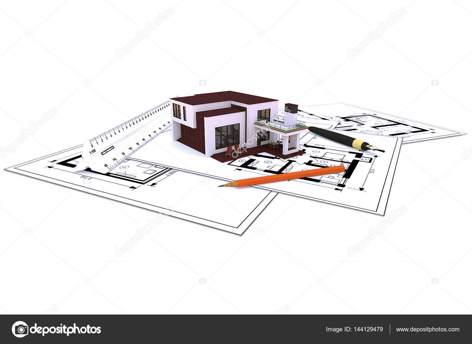 Mini house model stock photo belayagora 144129479 background with the image of a mini model house with blueprints in the workplace photo by belayagora ccuart Gallery