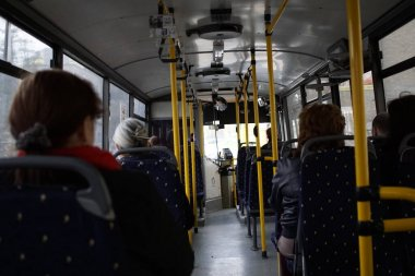 Inside the bus with people. Slovakia