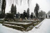 Zilina, Slovakia - February 13, 2018: Cemetery covered by snow in winter. Slovakia