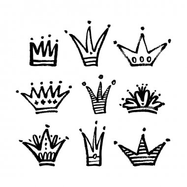 Set of hand drawn crowns.