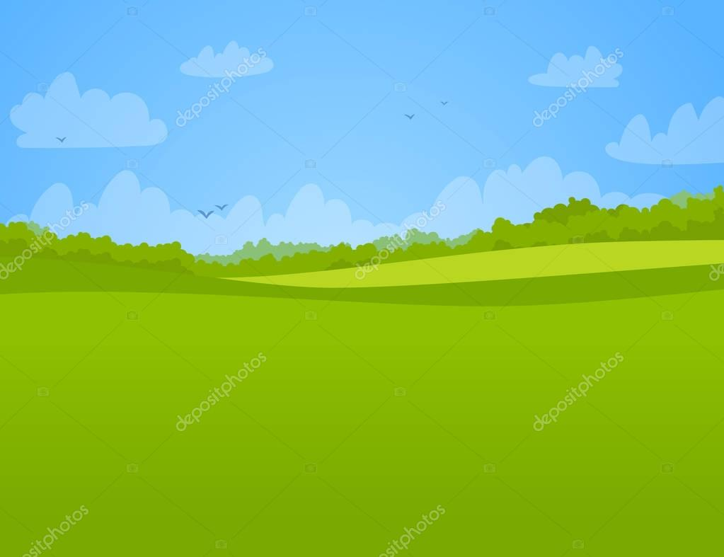 illustration of a green bright meadow.