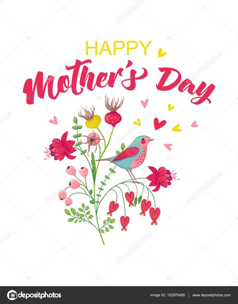 mother s day card template stock vector barkarola 152976468