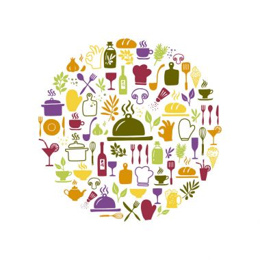 Kitchen and cooking icons in circle