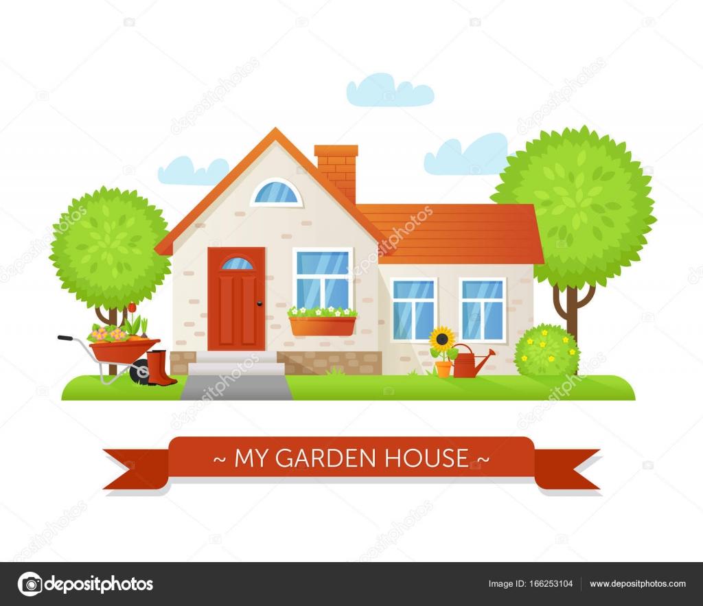 Casetta da giardino in stile piano vettoriali stock for Piani casa da 4000 a 5000 piedi quadrati
