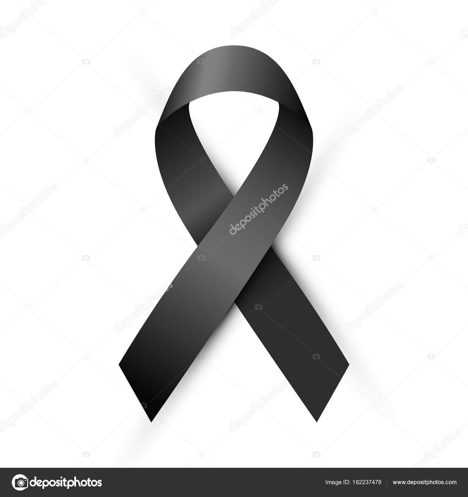 Luto Melanoma Fita Sensibilização Símbolo Preto Isolada Fundo Branco