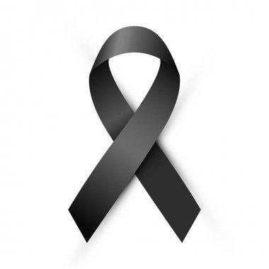Mourning and melanoma symbol, black awareness ribbon isolated on white background