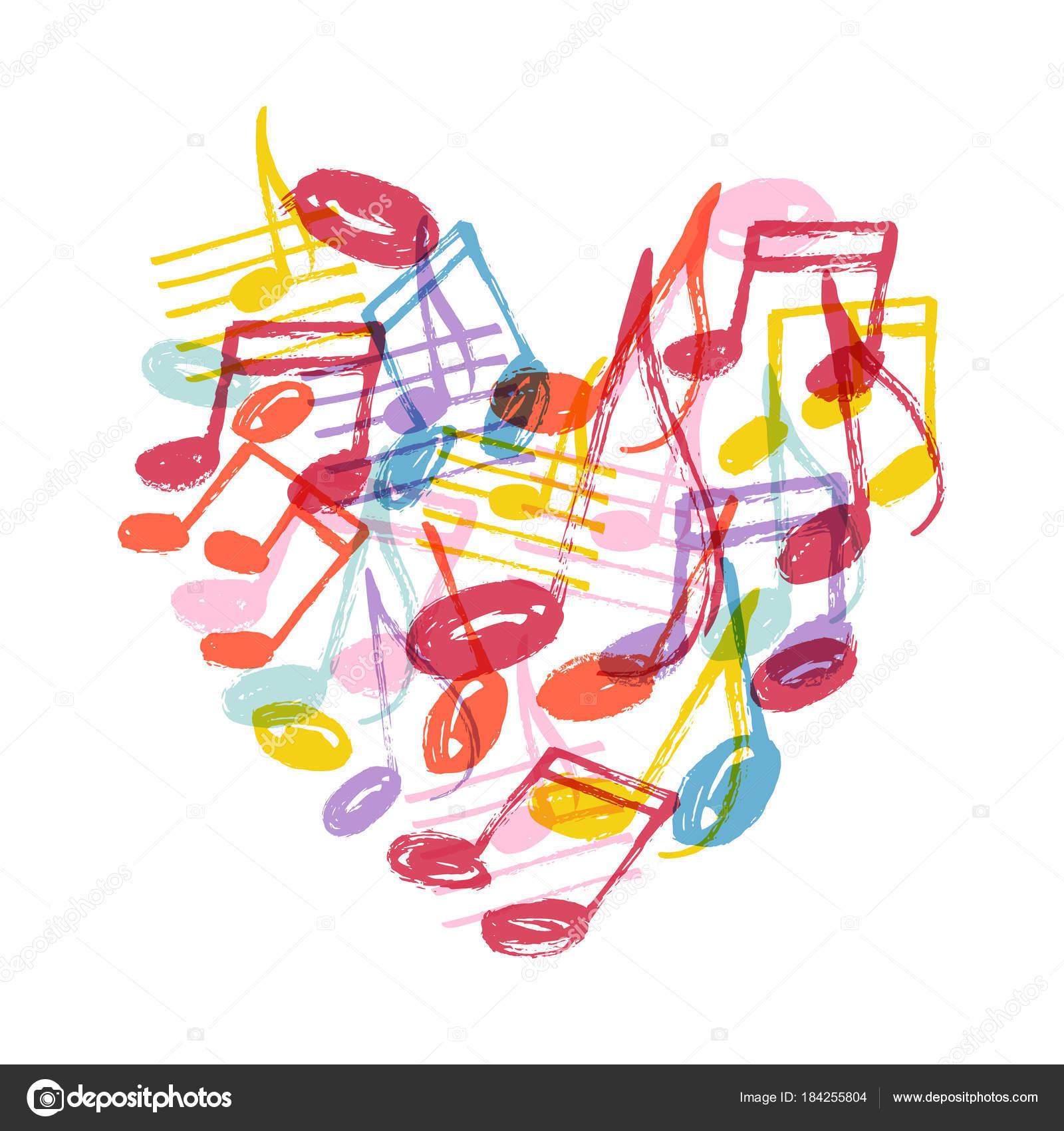 Imágenes Notas Musicales En Forma De Corazon Patrón Vector Con