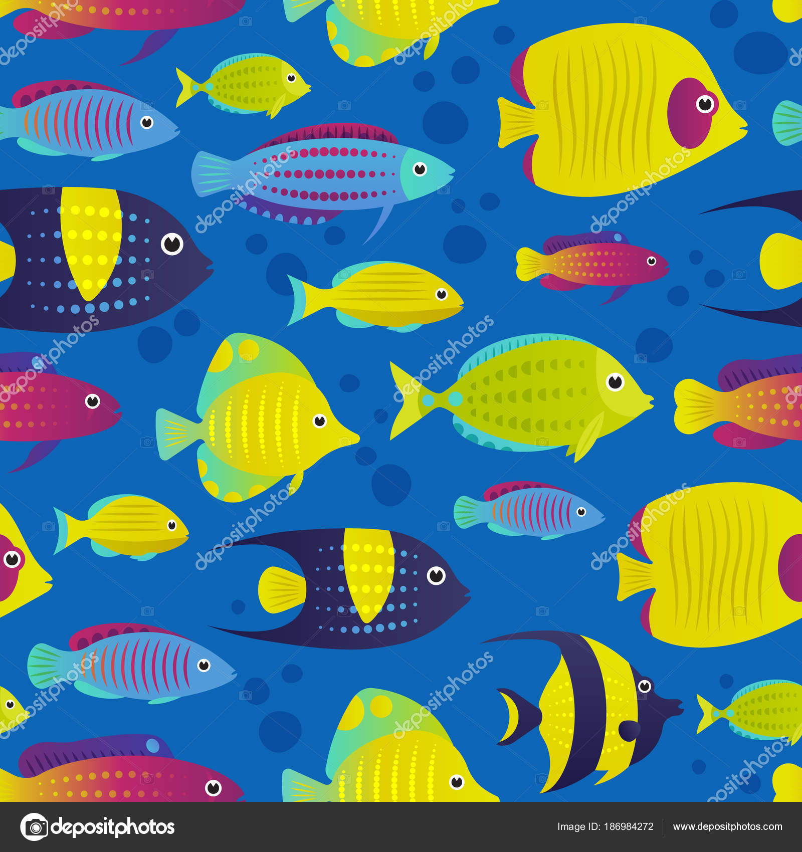 Vector Illustration Seamless Pattern Coral Reef Fish Cartoon