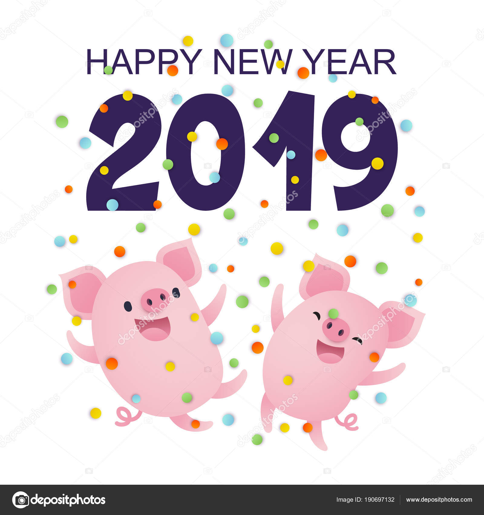 happy new year 2019 card cute cartoon pigs lettering confetti stock vector