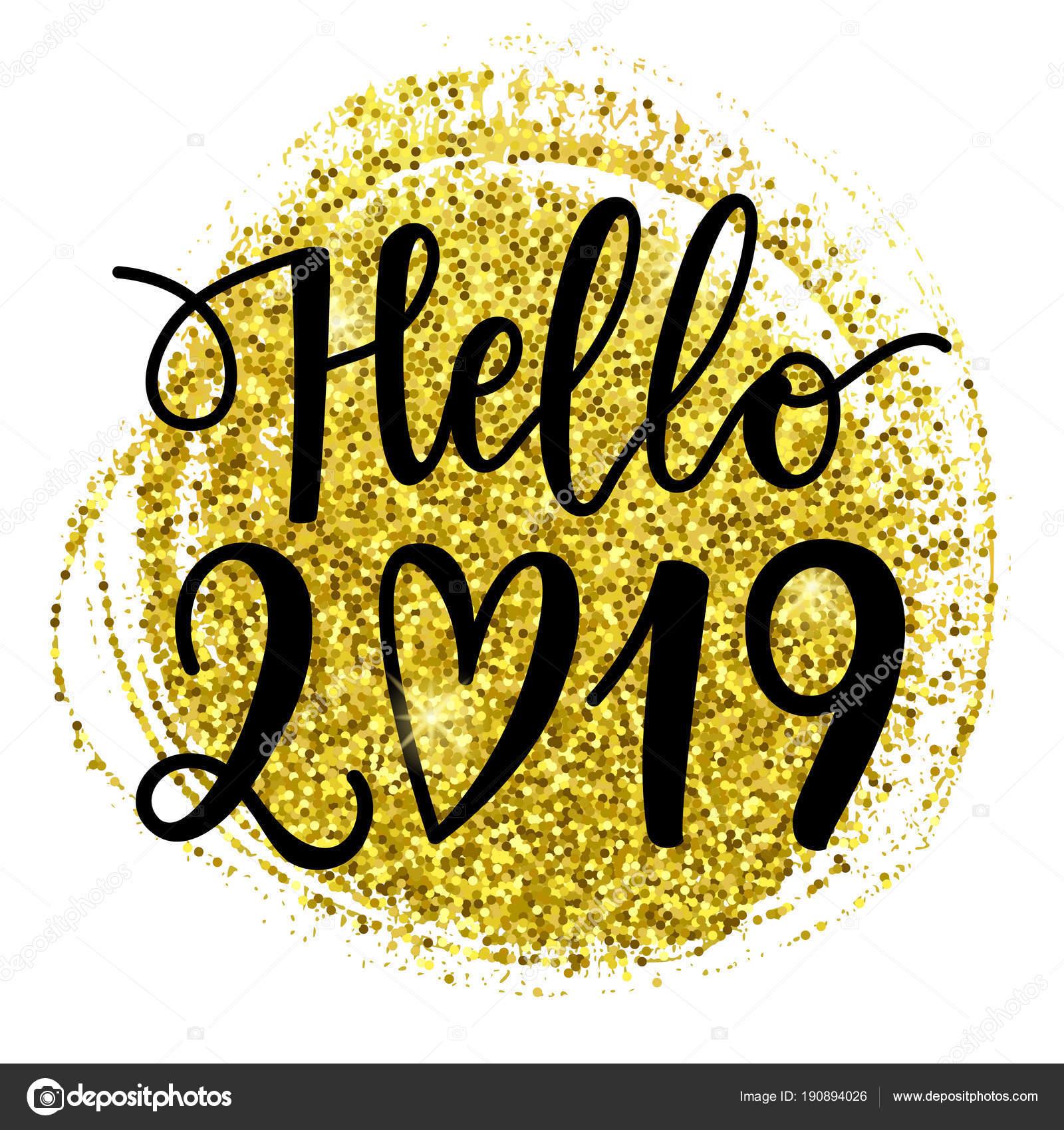 Mão Vetor Escrita Frase Olá 2019 Cartão Ano Novo Modelo Vetores De