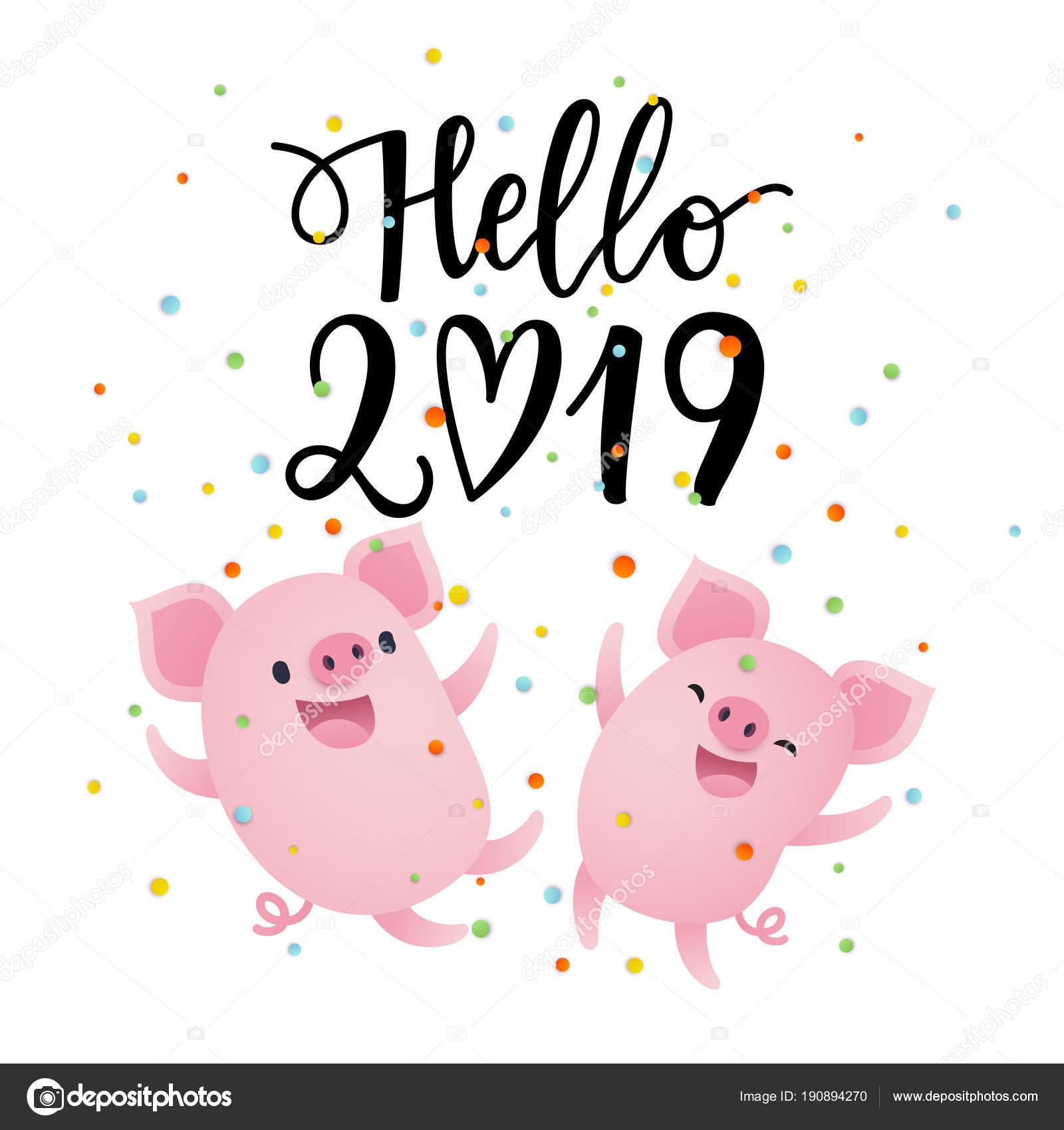 En haut Illustration Vectorielle Carte Bonjour 2019 Avec Dessin Animé &VL_14