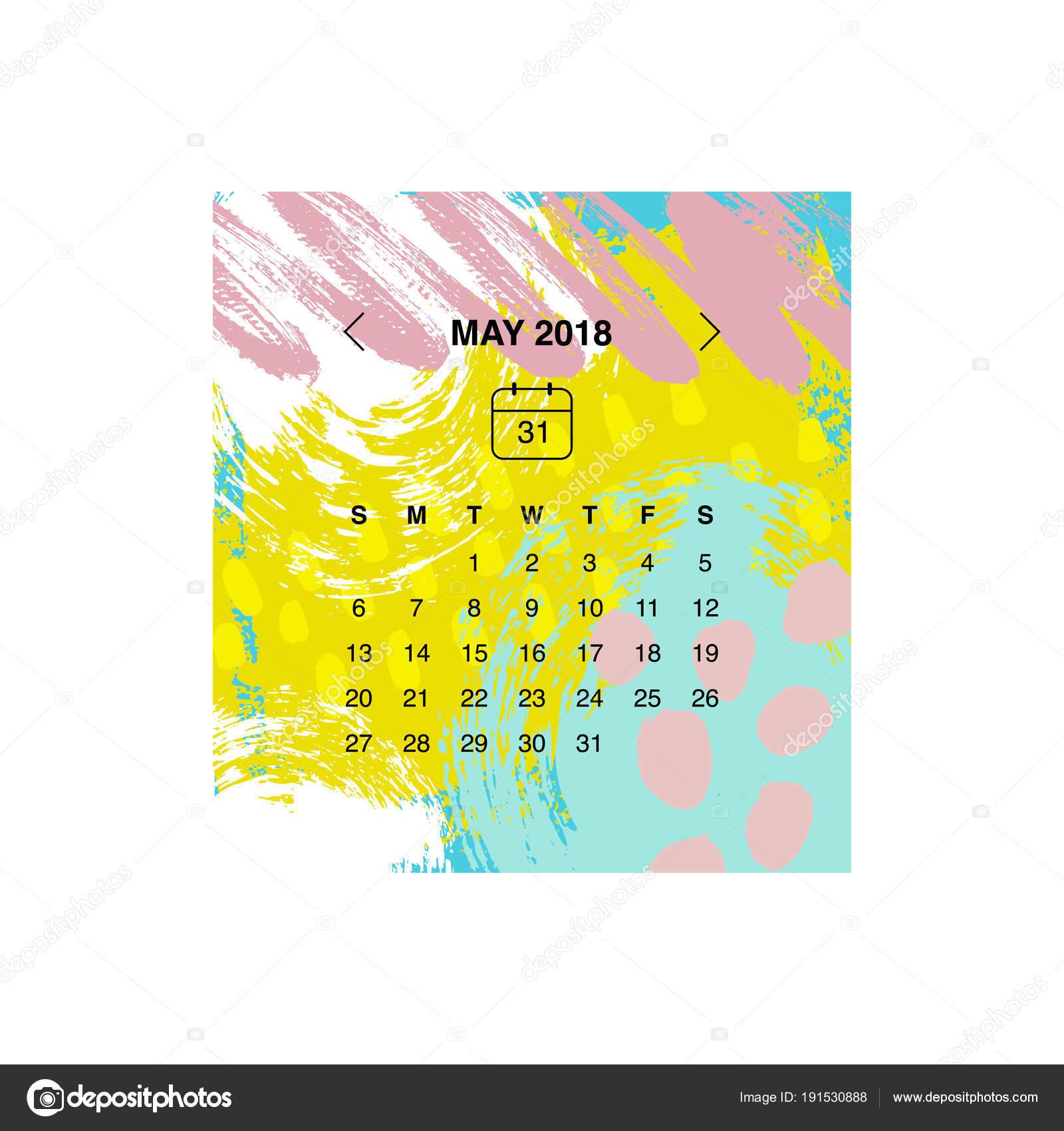conceito design calendrio maio 2018 vetor de stock